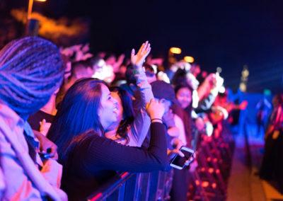 Students cheer as Isaiah Rashad takes the stage at Hullabaloo 2016