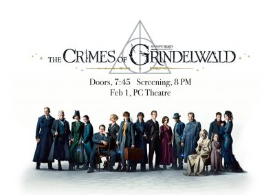 "<h3>ASCE Cinema - Fantastic Beasts: The Crimes of Grindelwald</h3>2/1/2019 | 7 PM - 10 PM | PC Theater | <a href=""https://www.facebook.com/events/294552211170201/"" target=""_blank"">Facebook page</a><br><br> Did you enjoy our Harry Potter themed Bear Garden? Excited for the next chapter of Newt's story? Then get ready for a free screening of Fantastic Beasts: The Crimes of Grindelwald!"
