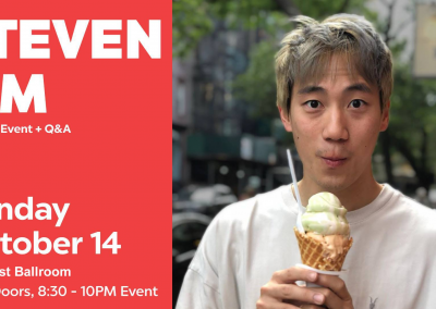 "<h3>A Conversation with Steven Lim</h3>10/14/2018 | 8 PM – 10 PM | PC West Ballroom |  <a href=""https://www.facebook.com/events/2173935372933255/"" target=""_blank"">Facebook page</a><br><br>Come out this Sunday for a speaker event and Q&A featuring BuzzFeed's very own Steven Lim!<br><br>Steven Lim is an Executive Producer at BuzzFeed Motion Pictures. He is best known as the creator and host of the hit show ""Worth It"". Currently in its 5th season on Buzzfeed, Worth It has become one of the most watched shows on YouTube, generating 740+ million video views to date. Prior to working at BuzzFeed, Steven was a chemical engineer at Procter & Gamble developing Tide Pods by day and telling untold Asian American stories on his YouTube channel on nights and weekends. Today he enjoys watching his favorite NBA and NFL teams, shopping for new jackets, and never turns down an opportunity to eat sushi."