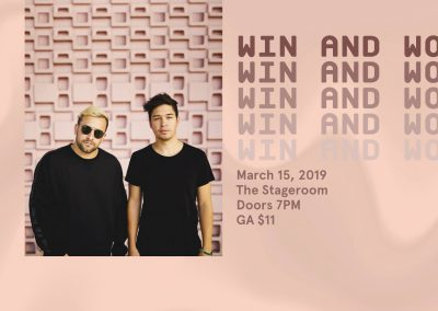"<h3>Win and Woo</h3>3/8/2019 | 7 PM - 10 PM | The Stageroom | <a href=""https://www.facebook.com/events/245747643041431/"" target=""_blank"">Facebook page</a><br><br> Ready to unwind after your long, cold winter quarter? Come thru to ASCE's last event of the quarter, an EDM night with Win+Woo!"